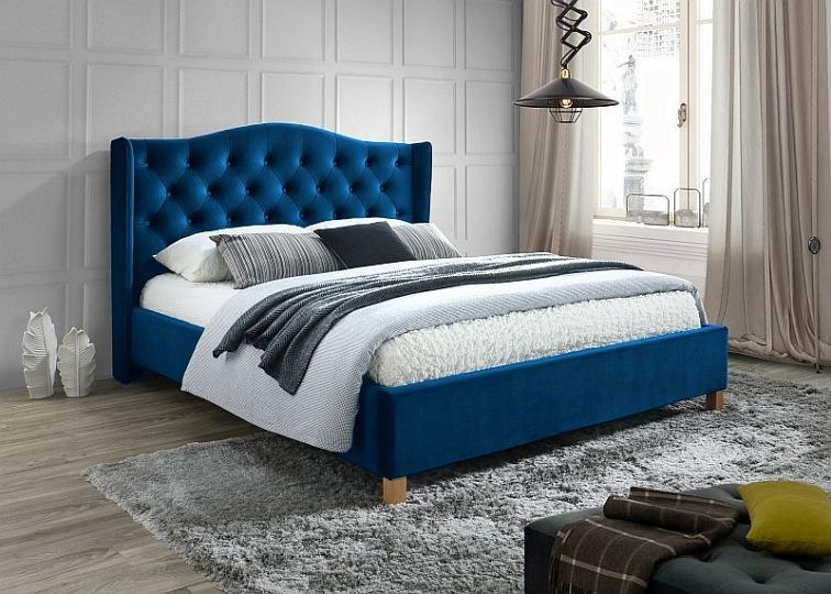 łóżko Aspen Velvet 160x200 Kolor Granatowydą