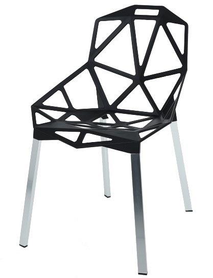Krzesło SPLIT PREMIUM czarne aluminium, nogi srebrne