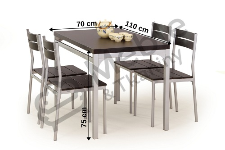 Malcolm Zestaw Stół 4 Krzesła Wenge
