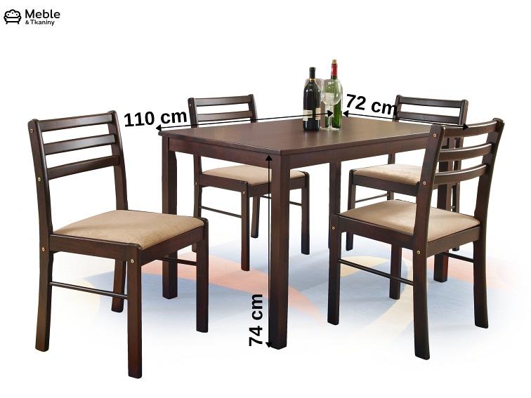 New Starter Zestaw Stół 4 Krzesła Espresso